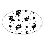 Black and White Leaf Silhouet Sticker (Oval)