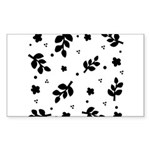 Black and White Leaf Silhouet Sticker (Rectangle)