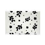 Black and White Leaf Silhouet Rectangle Magnet (10