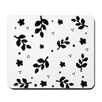 Black and White Leaf Silhouet Mousepad