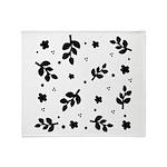 Black and White Leaf Silhouet Throw Blanket