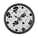 Black and White Leaf Silhouet Large Wall Clock