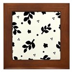 Black and White Leaf Silhouet Framed Tile