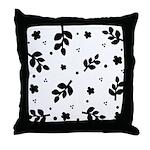 Black and White Leaf Silhouet Throw Pillow