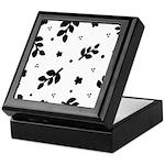 Black and White Leaf Silhouet Keepsake Box