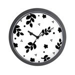 Black and White Leaf Silhouet Wall Clock