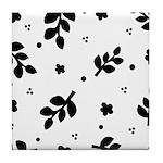 Black and White Leaf Silhouet Tile Coaster