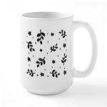 Black and White Leaf Silhouet Large Mug