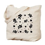 Black and White Leaf Silhouet Tote Bag