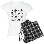 Black and White Leaf Silhouet Women's Light Pajama