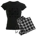 Black and White Leaf Silhouet Women's Dark Pajamas