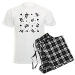 Black and White Leaf Silhouet Men's Light Pajamas