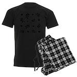 Black and White Leaf Silhouet Men's Dark Pajamas