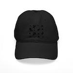 Black and White Leaf Silhouet Black Cap