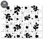 Black and White Leaf Silhouet Puzzle