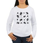 Black and White Leaf Silhouet Women's Long Sleeve