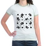 Black and White Leaf Silhouet Jr. Ringer T-Shirt
