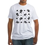 Black and White Leaf Silhouet Fitted T-Shirt