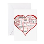 Words for Love in different l Greeting Cards (Pk o