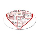 Words for Love in different l 38.5 x 24.5 Oval Wal