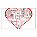 Words for Love in different l Sticker (Rectangle 1