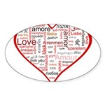 Words for Love in different l Sticker (Oval 10 pk)
