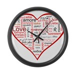 Words for Love in different l Large Wall Clock