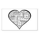 Love in many languages Sticker (Rectangle 50 pk)