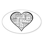 Love in many languages Sticker (Oval 10 pk)