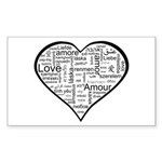 Love in many languages Sticker (Rectangle)