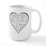 Love in many languages Large Mug