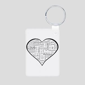Love in many languages Aluminum Photo Keychain