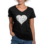 Love in many languages Women's V-Neck Dark T-Shirt