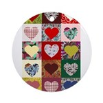 Heart Quilt Pattern Ornament (Round)