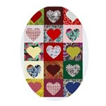 Heart Quilt Pattern Ornament (Oval)