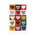 Heart Quilt Pattern Mini Poster Print