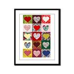 Heart Quilt Pattern Framed Panel Print