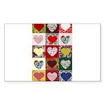 Heart Quilt Pattern Sticker (Rectangle 50 pk)