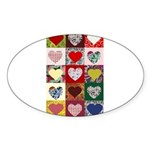Heart Quilt Pattern Sticker (Oval)