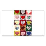 Heart Quilt Pattern Sticker (Rectangle)