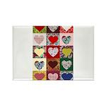 Heart Quilt Pattern Rectangle Magnet (100 pack)