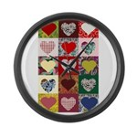 Heart Quilt Pattern Large Wall Clock