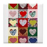 Heart Quilt Pattern Tile Coaster