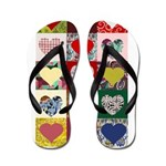 Heart Quilt Pattern Flip Flops