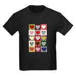 Heart Quilt Pattern Kids Dark T-Shirt