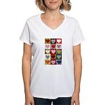 Heart Quilt Pattern Women's V-Neck T-Shirt