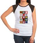 Heart Quilt Pattern Women's Cap Sleeve T-Shirt