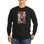 Heart Quilt Pattern Long Sleeve Dark T-Shirt