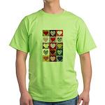 Heart Quilt Pattern Green T-Shirt