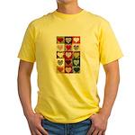 Heart Quilt Pattern Yellow T-Shirt
